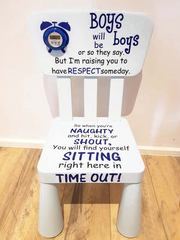 White Boys Time Out Naughty Chair u2013 with White Timer & Boys time out naughty chair - with optional timer